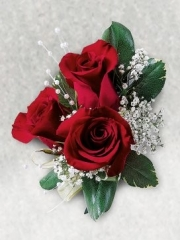 Triple Red Rose Corsage