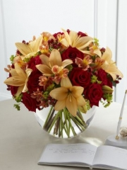 Rose and Lily Sunset Arrangement