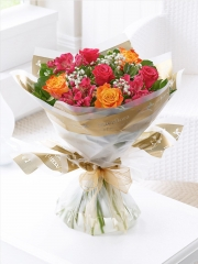 Summer Sunset Rose and Alstroemeria Hand-tied